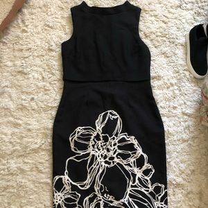 Badgley Mischka Black Floral Dress